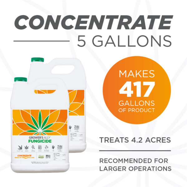 5 gallons of Grower's Ally fungicide make 417 gallons of product. Grower's Ally Fungicide is an OMRI Listed® fungicide and bactericide for use on cannabis and hemp.