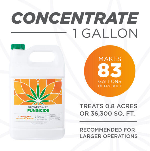 A gallon of Grower's Ally Fungicide makes 83 gallons of product. Grower's Ally Fungicide is an OMRI Listed® fungicide and bactericide for use on cannabis and hemp.