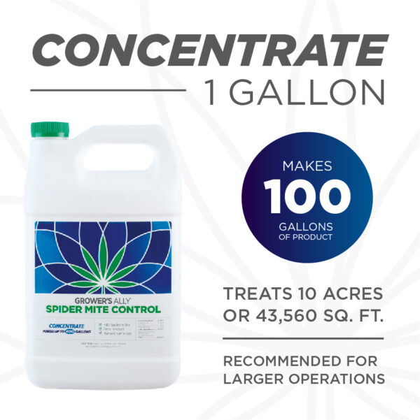 Grower's Ally Spider Mite Control is formulated with rosemary, clove and peppermint oils. Grower's Ally Spider Mite Control is an OMRI Listed® insecticide, miticide and repellent for use on cannabis and hemp.